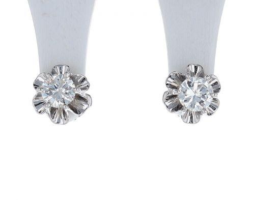 14K White Gold Diamond Stud Buttercup Earrings