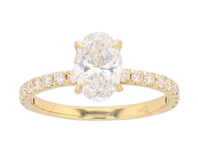 14K Yellow Gold French Set Semi-Mount Engagement Ring