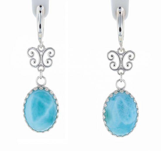 Sterling Silver Larimar Cabochon & Scroll Hinged Hoop Earrings
