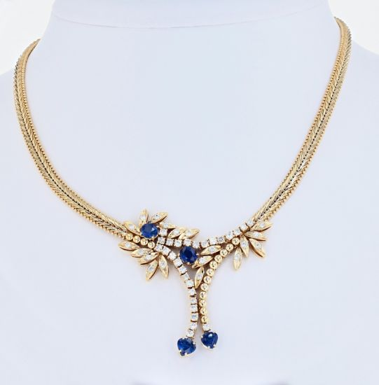 14K Yellow Gold Ceylon Sapphire & Diamond Riccio Style Necklace
