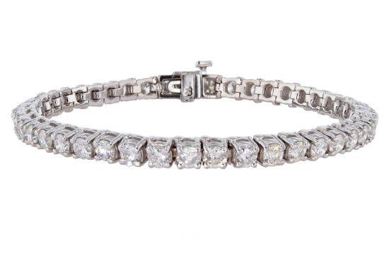 14k White Gold 7+Carat Round Brilliant Diamond Four Prong Tennis Bracelet