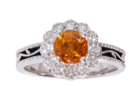 Kristopher Mark Orange Sapphire & Diamond Halo Vine Ring