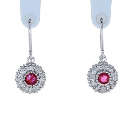 Kristopher Mark Ruby & Diamond Milgrain Cluster Earrings