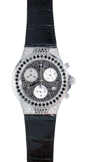 "Techno Marine 18K White Gold ""Diva"" Black & White Diamond Chronograph Ladies Watch Limited Edition"