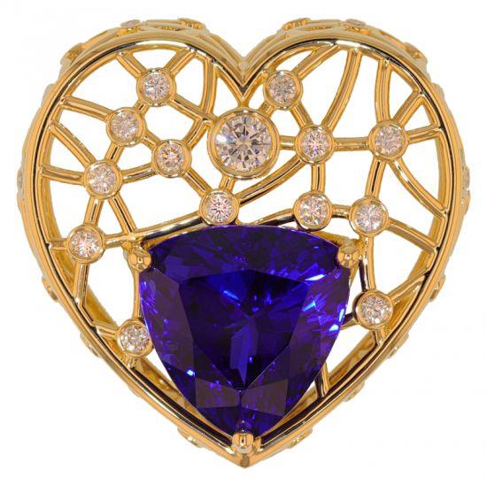 Kristopher Mark Custom 27.40 Carat Trillion Tanzanite & Diamond Heart Slide