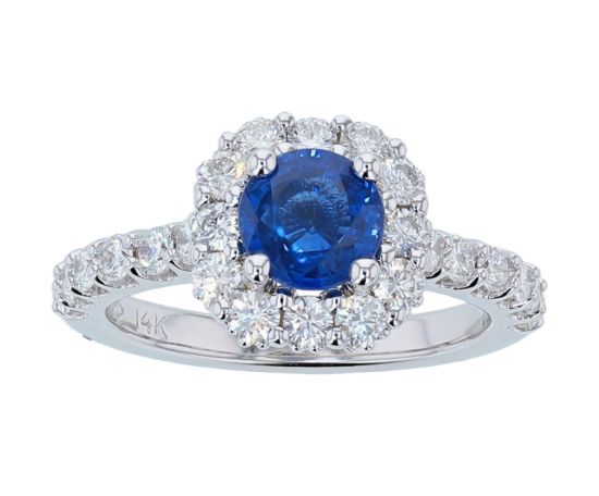 Kristopher Mark Ceylon Sapphire & Diamond Halo Ring