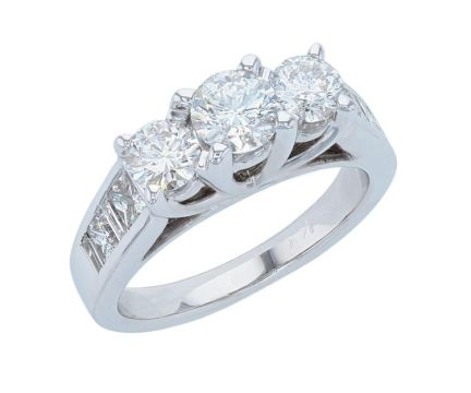 14K White Gold Three Stone Diamond Anniversary Ring