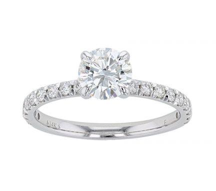 14K White Gold French Set Diamond Engagement Ring