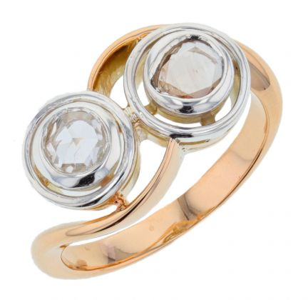 14k Two-Tone Rose Cut Diamond Ring