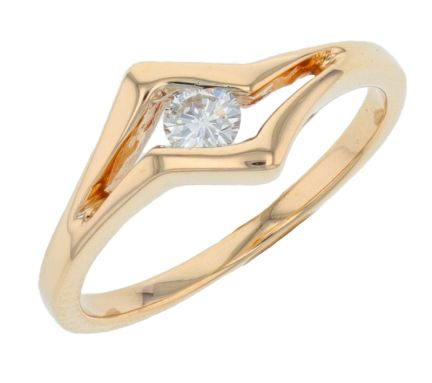 14k Yellow Gold Contemporary Diamond Ring