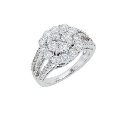 14K White Gold Diamond Cluster Fashion Ring