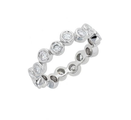 Platinum Diamond Staggered Bezel Eternity Band