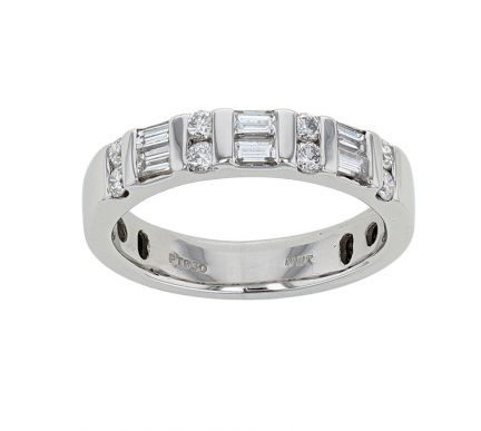 Platinum Baguette and Round Brilliant Diamond Bar Set Band
