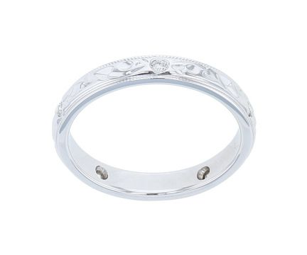 14K White Gold Engraved Diamond Band