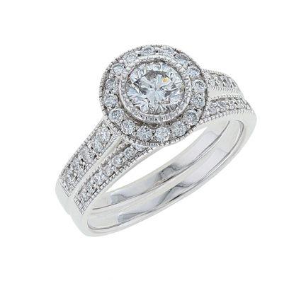 14K White Gold Diamond Bridal Set
