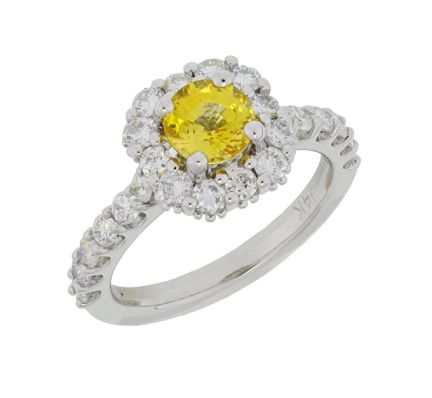 Kristopher Mark Yellow Sapphire & Diamond Halo Ring