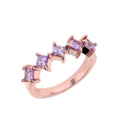 14K Rose Gold Princess Cut Pink Sapphire Ring