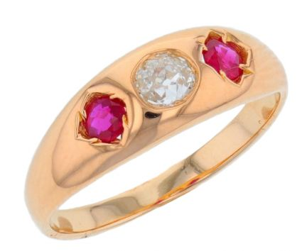 14k Yellow Gold Diamond & Ruby Ring