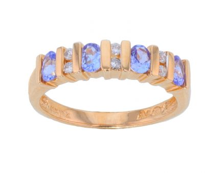 14k Yellow Gold Tanzanite & Diamond Bar Set Band