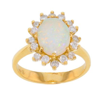 18k Yellow Gold Opal & Diamond Ring
