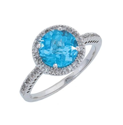 14k White Gold Checkerboard Cut Round Swiss Blue Topaz & Diamond Ring
