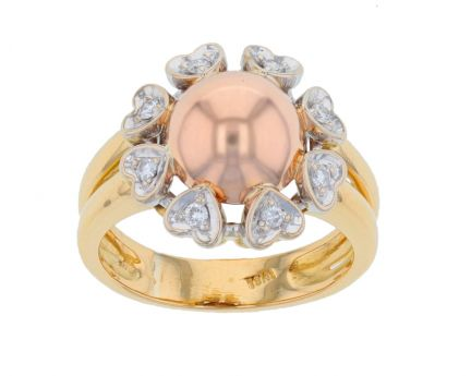 18k Tri-Color Gold & Diamond Ring