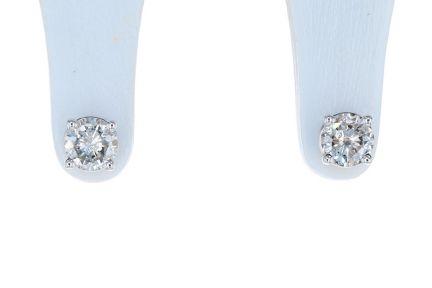 14K White Gold Round Brilliant Diamond Four Prong Basket Stud Earrings