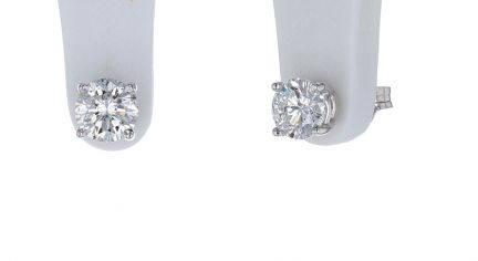 14K White Gold Round Brilliant Diamond Stud Earrings
