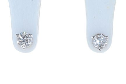 14K White Gold Round Brilliant Diamond Three Prong Martini Stud Earrings