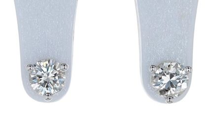 14k White Gold Round Brilliant Diamond Martini Style Three Prong Stud Earrings