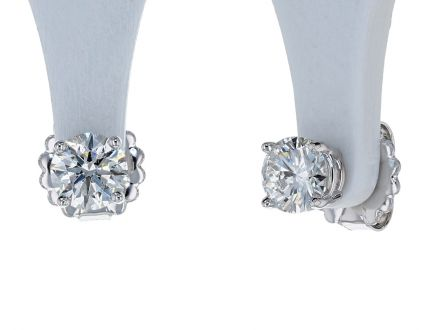 14k White Gold Diamond 4-Prong Basket Style Stud Earrings