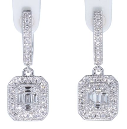 14k White Gold Baguette & Round Diamond Dangle Earrings