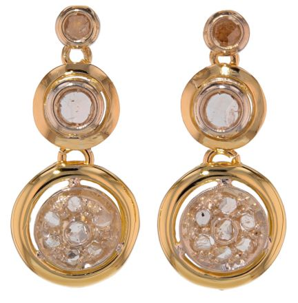 14k Two-Tone Antique Rose Cut Diamond Earrings