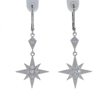 Kristopher Mark Moravian Star Diamond Dangle Earrings