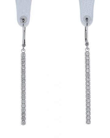 14k White Gold Diamond Bar Dangle Earrings