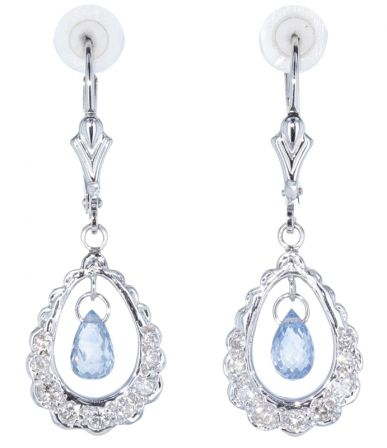 14k White Gold Baby Blue Briolette Sapphire & Diamond Earrings