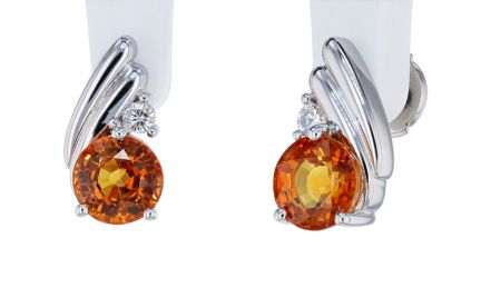 Kristopher Mark Orange Sapphire & Diamond Earrings
