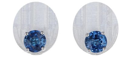 14K White Gold Ceylon Blue Sapphire 4-Prong Basket Stud Earrings-2.00 Carat