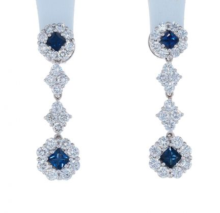 18k White Gold Diamond & Sapphire Dangle Earrings