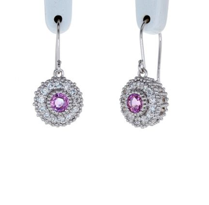 Kristopher Mark Pink Sapphire & Diamond Millgrain Cluster Earrings