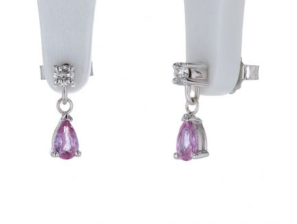 14K White Gold Pink Sapphire & Diamond Dangle Earrings