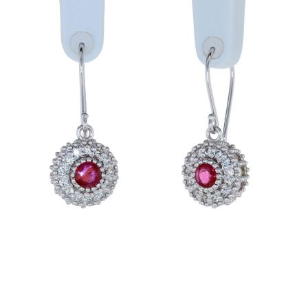 Kristopher Mark Ruby & Diamond Milgrain Cluster Earrings