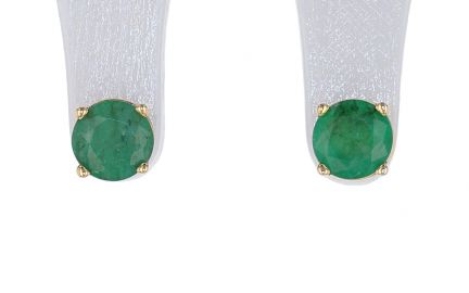 14k Yellow Gold Round Emerald Basket Style Four Prong Stud Earrings