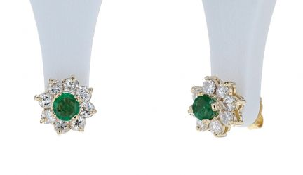 14k Yellow Gold Emerald and Diamond Halo Style Stud Earrings
