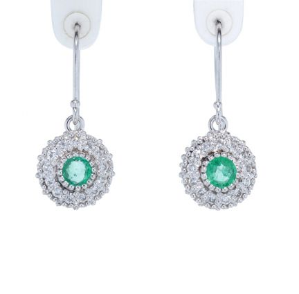 Kristopher Mark Emerald & Diamond Milgrain Cluster Earrings
