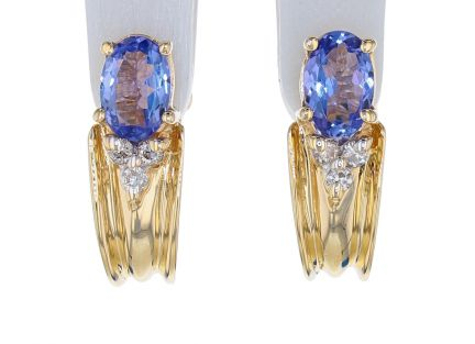 14k Yellow Gold Tanzanite & Diamond Earrings