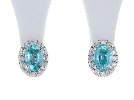 14K White Oval Blue Zircon 1/3 CTW Diamond Semi-Set Earrings