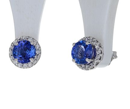 14K White Gold Tanzanite & Diamond Halo Stud Earrings