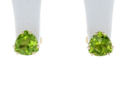 14K Yellow Gold Trillion Peridot Stud Earrings