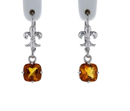 14K White Gold Cushion Cut Citrine Scroll Dangle Earrings
